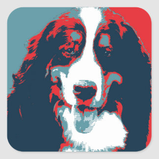 Bernese Mountain Dog Political Parody Poster Square Sticker