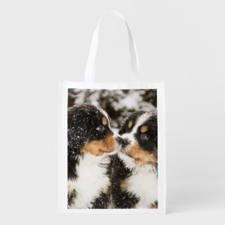 Bernese Mountain Dog Puppets Sniff Each Other Market Totes
