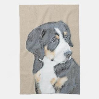 Bernese Mountain Dog Puppy Painting - Original Art Kitchen Towel