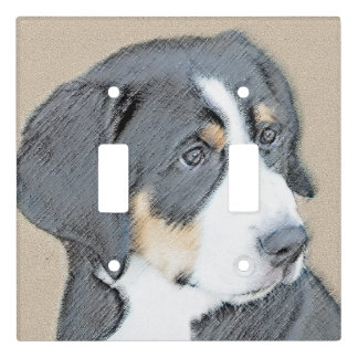 Bernese Mountain Dog Puppy Painting - Original Art Light Switch Cover
