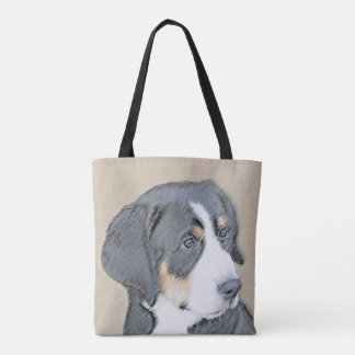 Bernese Mountain Dog Puppy Painting - Original Art Tote Bag
