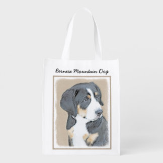 Bernese Mountain Dog Puppy Reusable Grocery Bag