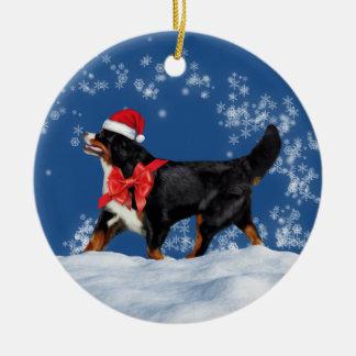 Bernese Mountain Dog Santa Christmas Ornament