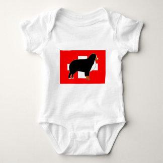 bernese mountain dog silhouette on flag rust baby bodysuit