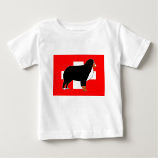 bernese mountain dog silhouette on flag rust baby T-Shirt