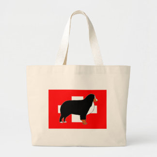 bernese mountain dog silhouette on flag rust large tote bag