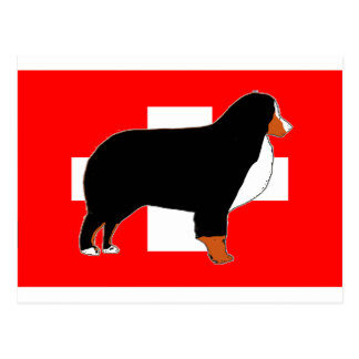 bernese mountain dog silhouette on flag rust postcard