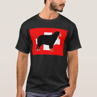bernese mountain dog silhouette on flag rust T-Shirt