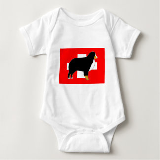 bernese mountain dog silhouette on flag tan baby bodysuit