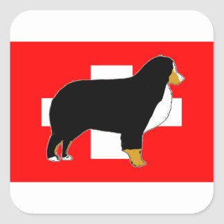 bernese mountain dog silhouette on flag tan square sticker