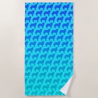 Bernese Mountain Dog Silhouettes Pattern Beach Towel