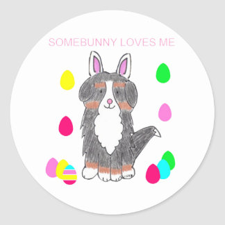 Bernese Mountain Dog Somebunny Loves Me Round Sticker