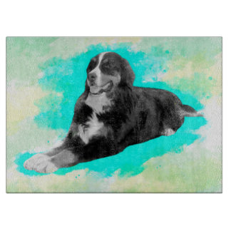 Bernese Mountain Dog Watercolor Art Cutting Board