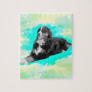 Bernese Mountain Dog Watercolor Art Jigsaw Puzzle