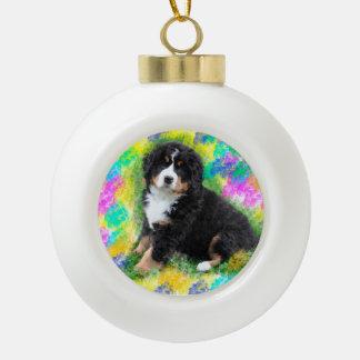 Bernese Mountain Dog Watercolor Art Painting Ceramic Ball Ornament
