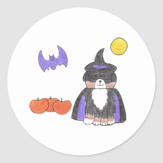 Bernese Mountain Dog Witch Sticker