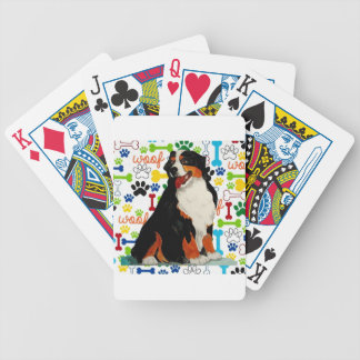 Bernese Mountain dog woof paw bone Bicycle Playing Cards