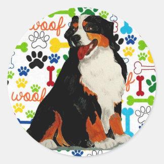 Bernese Mountain dog woof paw bone Classic Round Sticker