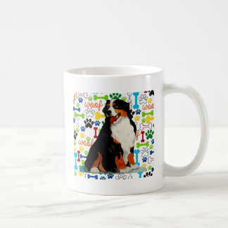 Bernese Mountain dog woof paw bone Coffee Mug