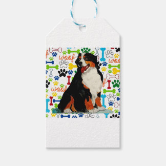 Bernese Mountain dog woof paw bone Gift Tags