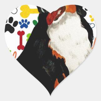 Bernese Mountain dog woof paw bone Heart Sticker