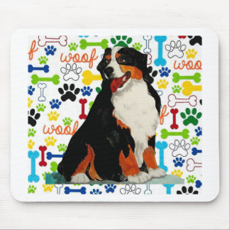 Bernese Mountain dog woof paw bone Mouse Pad