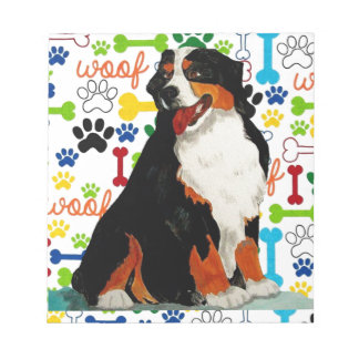 Bernese Mountain dog woof paw bone Notepad