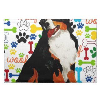 Bernese Mountain dog woof paw bone Placemat