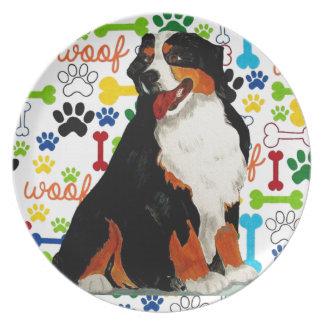 Bernese Mountain dog woof paw bone Plate