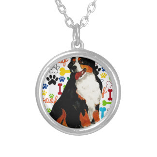 Bernese Mountain dog woof paw bone Silver Plated Necklace