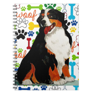 Bernese Mountain dog woof paw bone Spiral Notebook