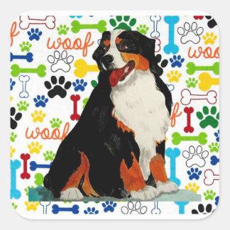 Bernese Mountain dog woof paw bone Square Sticker