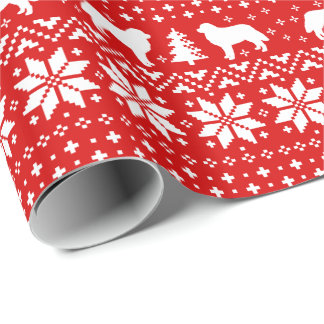 Bernese Mountain Dogs Christmas Sweater Pattern Wrapping Paper