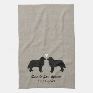Bernese Mountain Dogs with Heart and Text Kitchen Towel