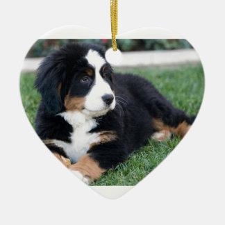 Bernese Mountain Puppy Ceramic Heart Ornament