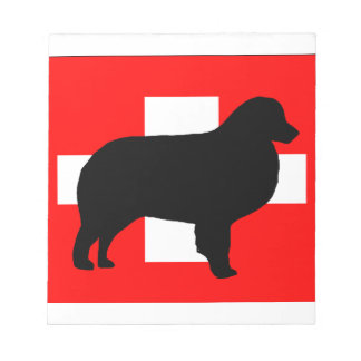 bernese mt dog silhouette switzerland flag notepad