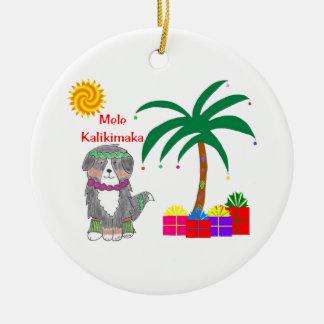 Bernese Mtn Dog Hawaiian Christmas Ceramic Ornament