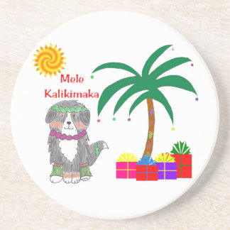Bernese Mtn Dog Hawaiian Christmas Coaster