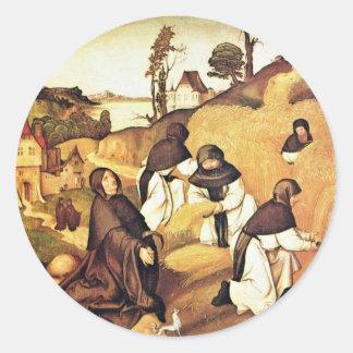 Bernhard Altar Scenes From The Life Of Saint Berna Round Sticker