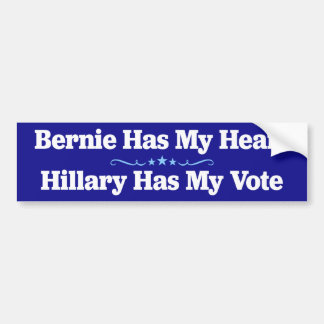 Bernie has my heart, Hillary has my vote sticker Bumper Sticker