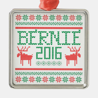 Bernie Sanders 2016 President Ugly Holiday Sweater Silver-Colored Square Ornament