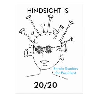 """Bernie Sanders Alien  """"HINDSIGHT IS 20/20 Postcard"""