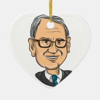 Bernie Sanders Caricature Ceramic Heart Ornament