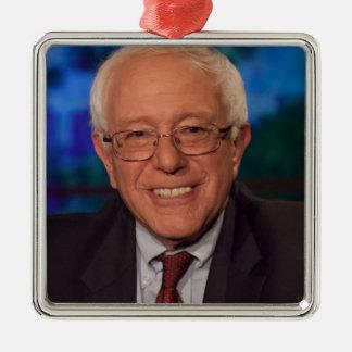 Bernie Sanders Silver-Colored Square Ornament