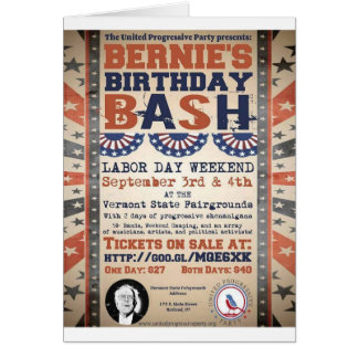 Bernie's 75th Birthday Bash and Labor Day Festival Card