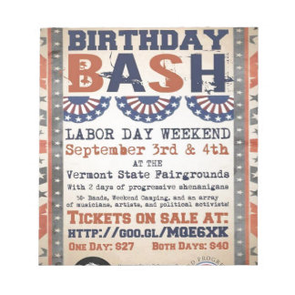 Bernie's 75th Birthday Bash and Labor Day Festival Notepad