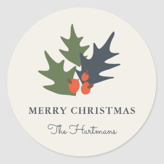 Berries and Leaves Personalized Christmas Stickers