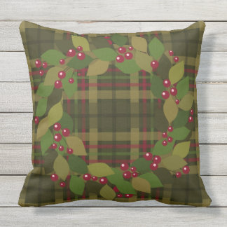 Berries and Leaves Wreath | Rustic Plaid Throw Pillow