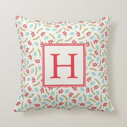 Berries and Pine Monogram Throw Pillow | Ivory
