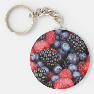 berries background basic round button keychain